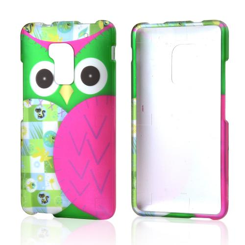 Hot Pink / Green Owl Rubberized Hard Case for HTC One Max
