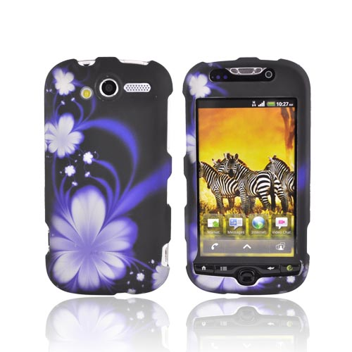 T-Mobile MyTouch 4G Rubberized Hard Case - Purple Flower on Black