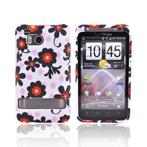 HTC Thunderbolt Rubberized Hard Case - Black Flowers on White