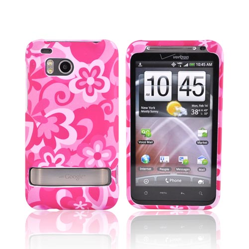 HTC Thunderbolt Rubberized Hard Case - Hot Pink Flowers