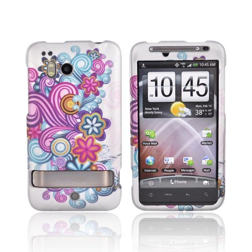 HTC Thunderbolt Rubberized Hard Case - Purple/blue Swirls On Gray