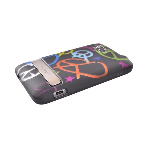 HTC Thunderbolt Rubberized Hard Case - Colorful Peace Signs on Black