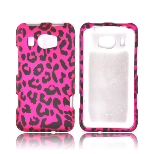 HTC Titan 2 Rubberized Hard Case - Hot Pink/ Black Leopard