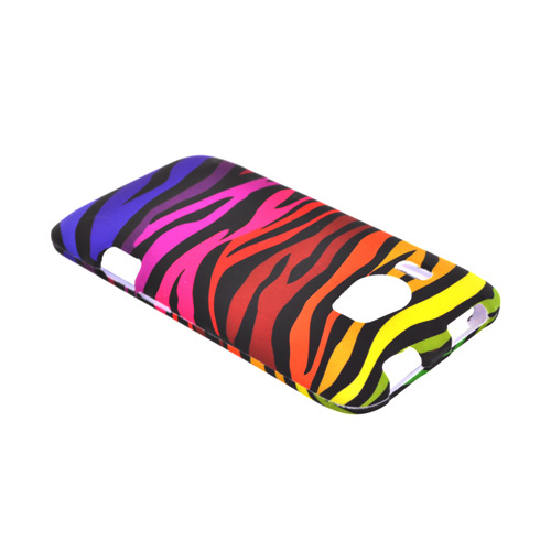 HTC Titan 2 Rubberized Hard Case - Rainbow Zebra on Black