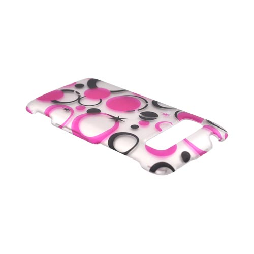 HTC Trophy Rubberized Hard Case - Hot Pink/ Black Mod Dots on Gray
