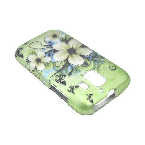 AT&T Fusion 2 U8665 Rubberized Hard Case - White Hawaiian Flowers on Green