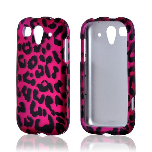 T-Mobile Huawei myTouch 2 Rubberized Hard Case - Hot Pink/ Black Leopard