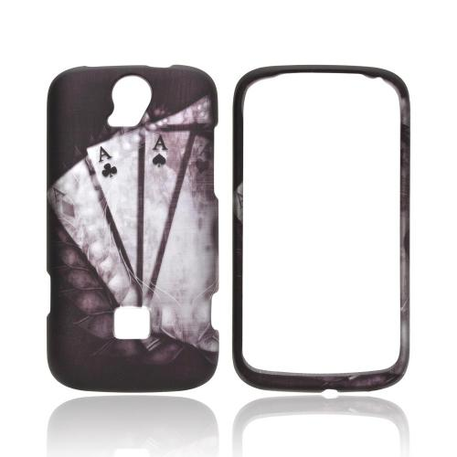 T-Mobile Huawei myTouch Q 2 Rubberized Hard Case - Black/ White Aces w/ Laurel Leaf Imprint