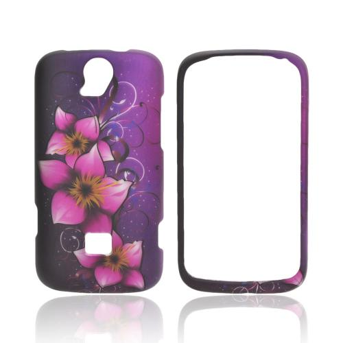 T-Mobile Huawei myTouch Q 2 Rubberized Hard Case - Hot Pink Mystical Flower on Purple