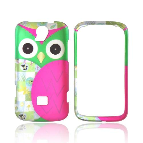 T-Mobile Huawei myTouch Q 2 Rubberized Hard Case - Green/ Hot Pink Owl Design