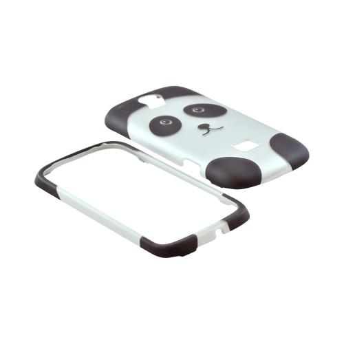 T-Mobile Huawei myTouch Q 2 Rubberized Hard Case - Silver/ Black Panda Bear