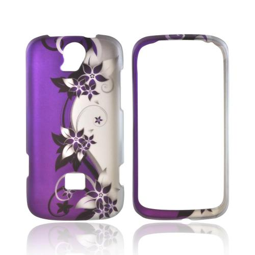 T-Mobile Huawei myTouch Q 2 Rubberized Hard Case - Purple Flowers/ Vines on Silver