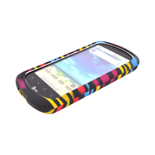 AT&T Impulse 4G Rubberized Hard Case - Rainbow Zebra on Black