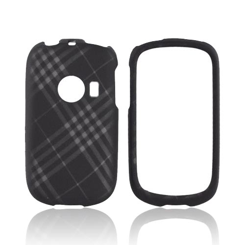 Huawei M835 Rubberized Hard Case - Gray Plaid on Black