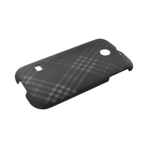 Huawei Ascend 2/ Prism/ Summit M865 Rubberized Hard Case - Gray Plaid on Black