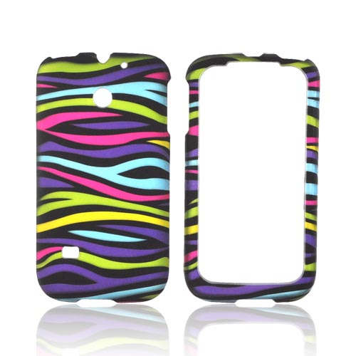 Huawei Ascend 2/ Prism/ Summit M865 Rubberized Hard Case - Rainbow Zebra on Black