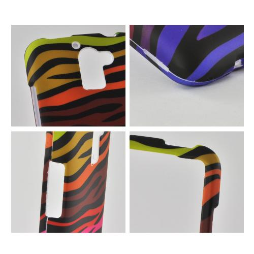 Rainbow Zebra on Black Rubberized Hard Case for Huawei Premia 4G