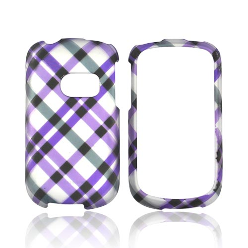 T-Mobile Comet U8150 Rubberized Hard Case - Checkered Design of Purple, Grey on White