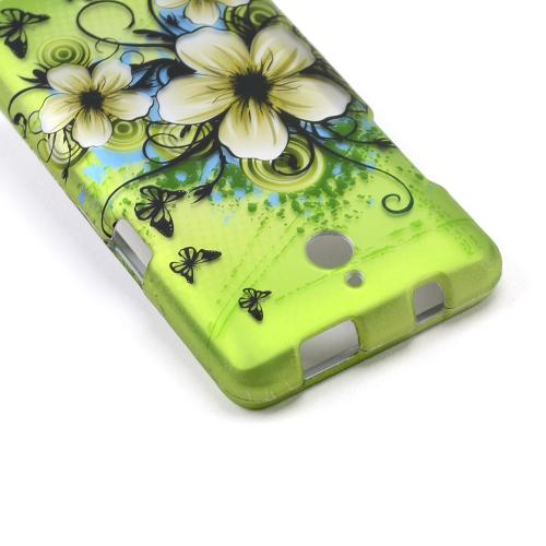White Hawaiian Flowers on Green Rubberized Hard Case for Huawei Valiant