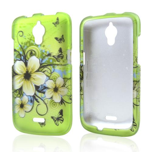 White Hawaiian Flowers on Green Rubberized Hard Case for Huawei Vitria
