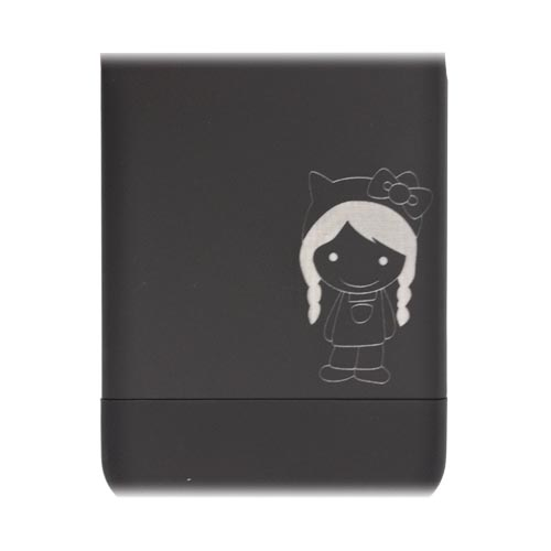 AT&T/ Verizon Apple iPhone 4, iPhone 4S Slide-On Rubberized Hard Case w/ Cute Girl w/ Bow Engraving - Black