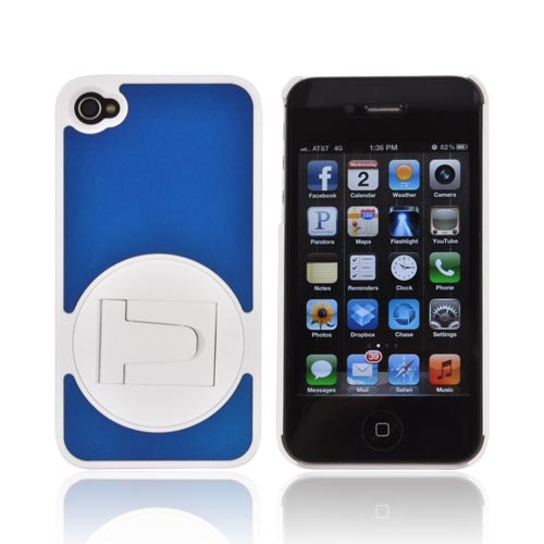 AT&T/ Verizon Apple iPhone 4, iPhone 4S Rubberized Hard Case w/ Rotatable Built-in Stand - Blue/ White