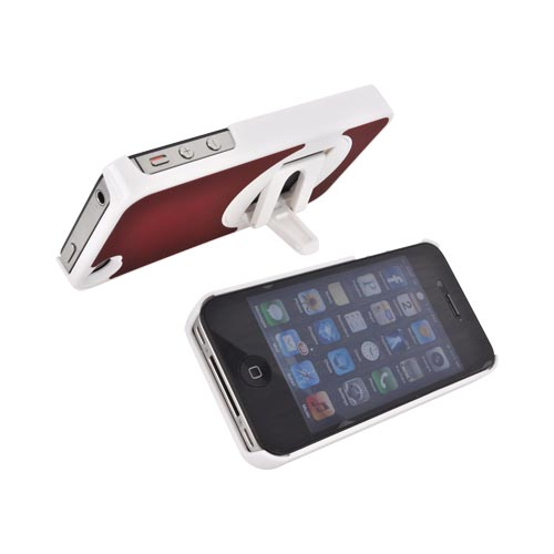 AT&T/ Verizon Apple iPhone 4, iPhone 4S Rubberized Hard Case w/ Rotatable Built-in Stand - Red/ White