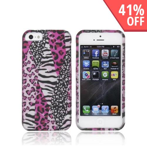 Apple iPhone 5/5S Rubberized Hard Case - Hot Pink Zebra & Leopard Print