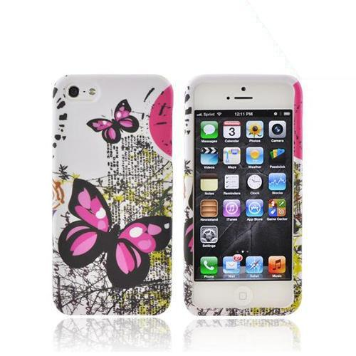 Apple iPhone SE / 5 / 5S Hard Case,  [Pink Butterfly on White]  Slim & Protective Rubberized Matte Finish Snap-on Hard Polycarbonate Plastic Case Cover