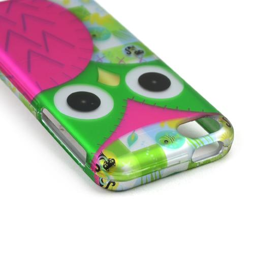 Hot Pink/ Green Owl Rubberized Hard Case for Apple iPhone 5C