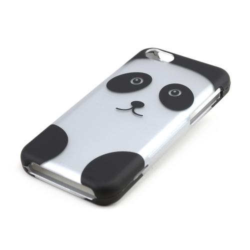 Silver/ Black Panda Bear Rubberized Hard Case for Apple iPhone 5C