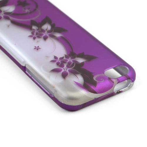 Black Vines on Silver/ Purple Rubberized Hard Case for Apple iPhone 5C