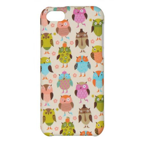 Retro Owls on Cream Rubberized Hard Case for Apple iPhone 5C
