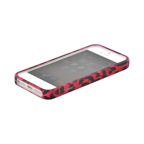Apple iPhone 5/5S Rubberized Hard Case - Hot Pink/ Black Leopard
