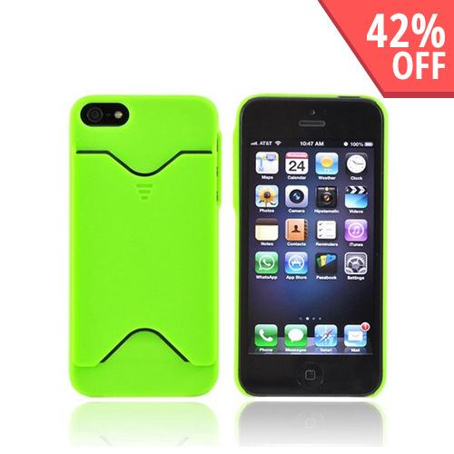 Apple iPhone 5/5S Rubberized Back Cover w/ ID Slot - Neon Green
