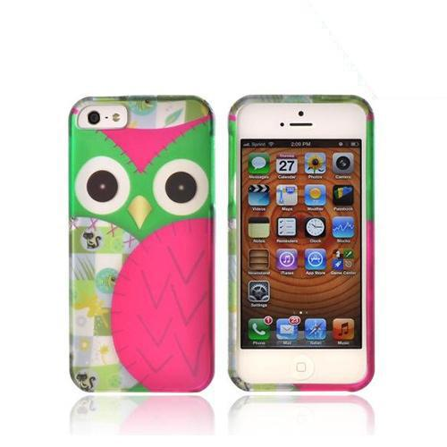 Apple iPhone SE / 5 / 5S Hard Case,  [Green/ Hot Pink Owl Design]  Slim & Protective Rubberized Matte Finish Snap-on Hard Polycarbonate Plastic Case Cover