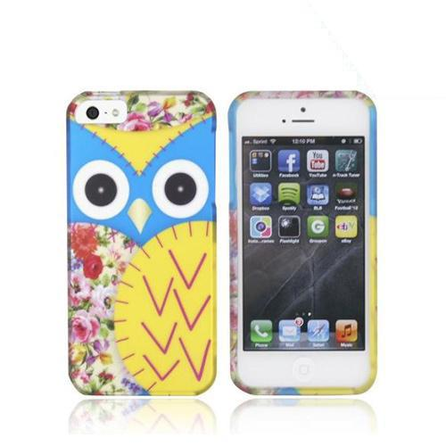 Apple iPhone SE / 5 / 5S Hard Case,  [Blue/ Gold Owl Design]  Slim & Protective Rubberized Matte Finish Snap-on Hard Polycarbonate Plastic Case Cover