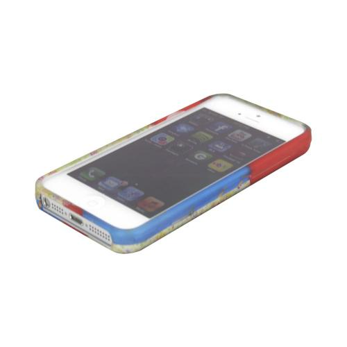Apple iPhone 5/5S Rubberized Hard Case - Red/ Blue Owl Design - XXIP5