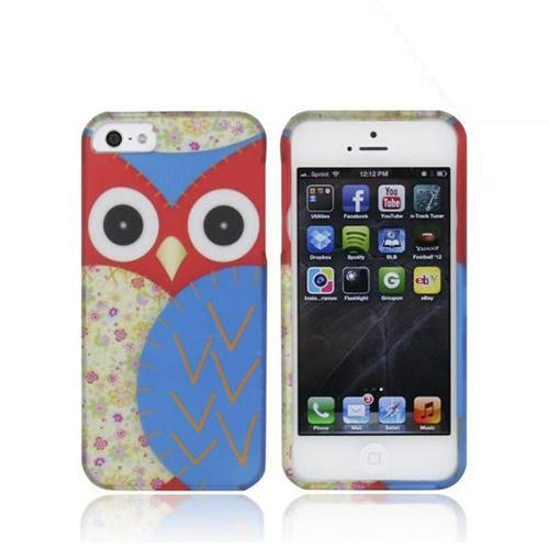 Apple iPhone 5/5S Rubberized Hard Case - Red/ Blue Owl Design