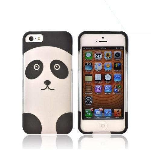 Apple iPhone 5/5S Rubberized Hard Case - Silver/ Black Panda
