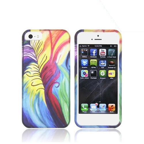 Apple iPhone 5/5S Rubberized Hard Case - Rainbow Peacock Feathers