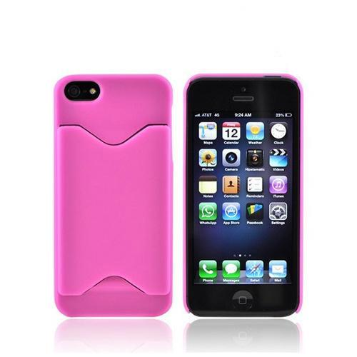 Apple iPhone 5/5S Rubberized Back Cover w/ ID Slot - Pink
