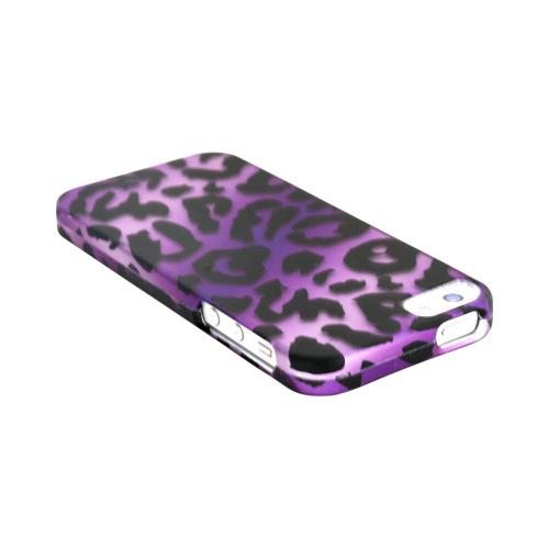 Apple iPhone 5/5S Rubberized Hard Case - Purple/ Black Leopard
