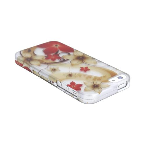 Apple iPhone 5/5S Rubberized Hard Case - Red/ White Flowers on Silver