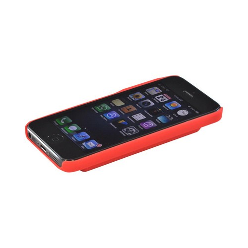Apple iPhone 5/5S Rubberized Back Cover w/ ID Slot - Red