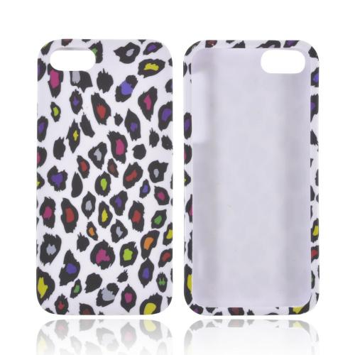 Apple iPhone SE / 5 / 5S Hard Case,  [Rainbow Leopard on White]  Slim & Protective Rubberized Matte Finish Snap-on Hard Polycarbonate Plastic Case Cover