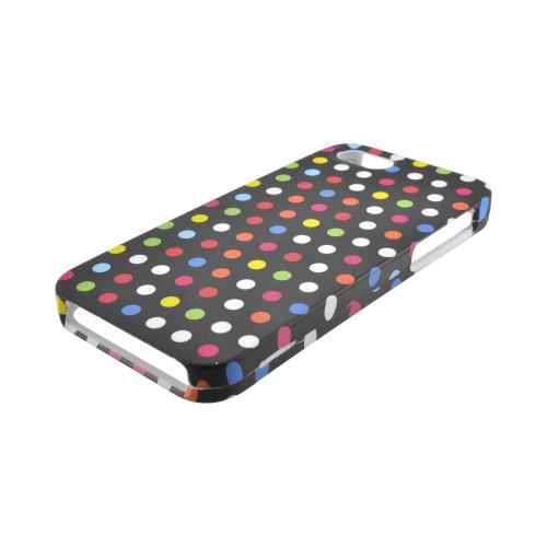 Apple iPhone 5/5S Rubberized Hard Case - Rainbow Polka Dots on Black