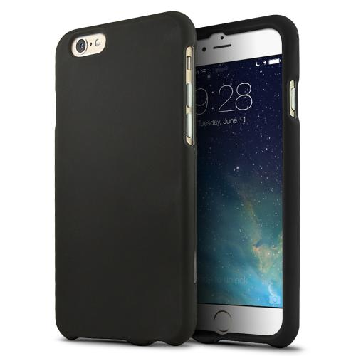 Black Matte Rubberized Hard Case Cover Made for  iPhone 6 (4.7 inch) ; Perfect fit as Best Coolest Design Plastic Cases