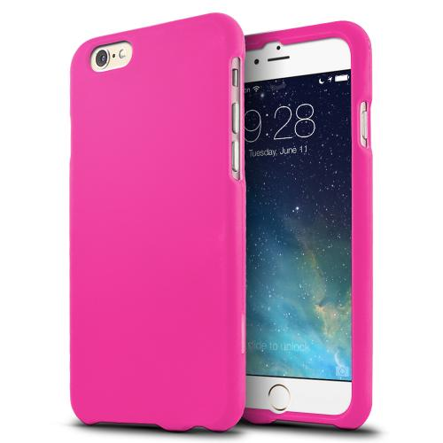 Hot Pink Matte Rubberized Hard Case Cover Made for  iPhone 6 (4.7 inch) ; Perfect fit as Best Coolest Design Plastic Cases