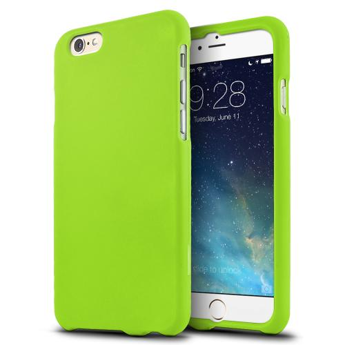 Neon Green Matte Rubberized Hard Case Cover Made for iPhone 6 (4.7 inch) ; Perfect fit as Best Coolest Design Plastic Cases